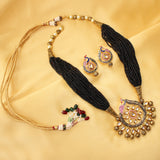 Imeora Designer Black Beaded Peacock Necklace Set With Earrings