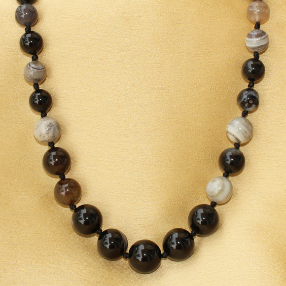 Imeora Multishaded Black Agate Necklace