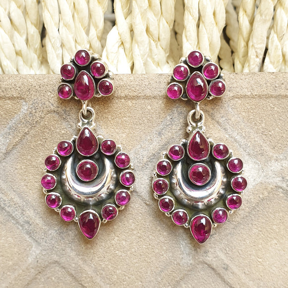925 Silver Pink Studs With Half Moon Pink Drops