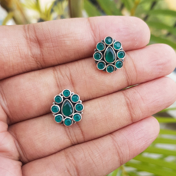925 Silver Green Onyx Studs