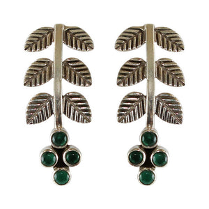 925 Silver Leaf Green Earrings