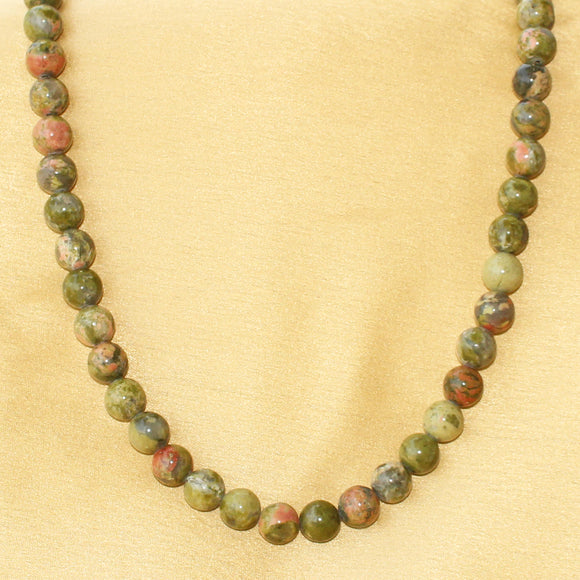 Imeora Unakite Jasper Stone Beads Necklace