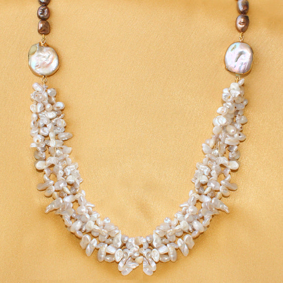 Imeora Fresh Water Pearl Bunch Necklace with Twin Brooch