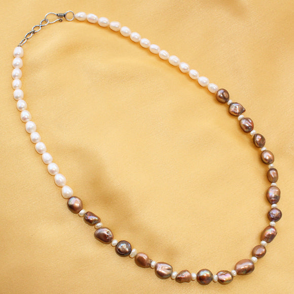 Imeora Elegant White Brown Fresh Water Pearl Necklace