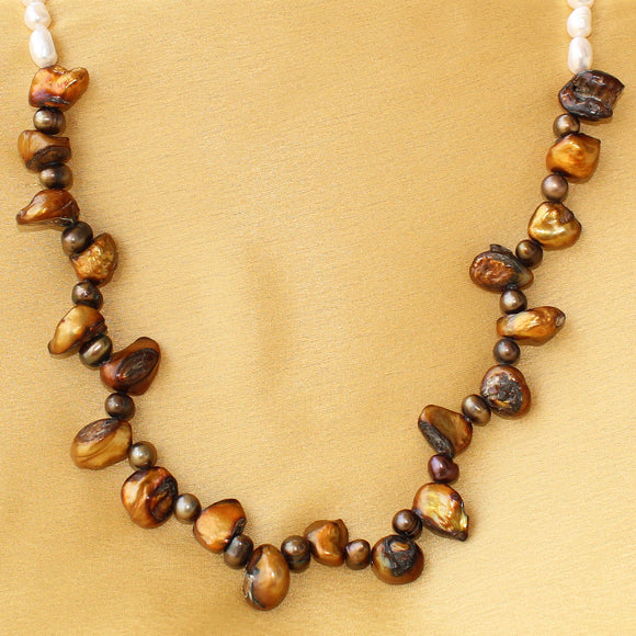 Imeora Fresh Water Golden Baroque Pearl Necklace