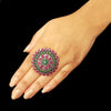 925 Silver Ruby Red Green Center Big Flower Ring