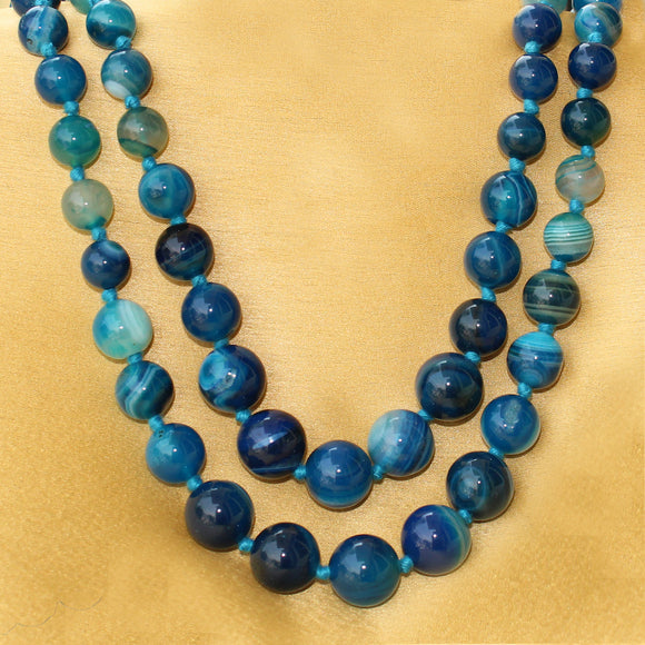 Imeora Knotted Light Blue Agate Graduation Double Line Necklace