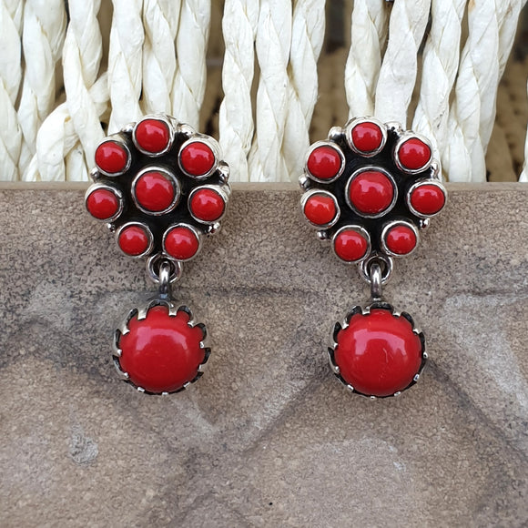 925 Silver Coral Red Earrings With Coral Red Drop