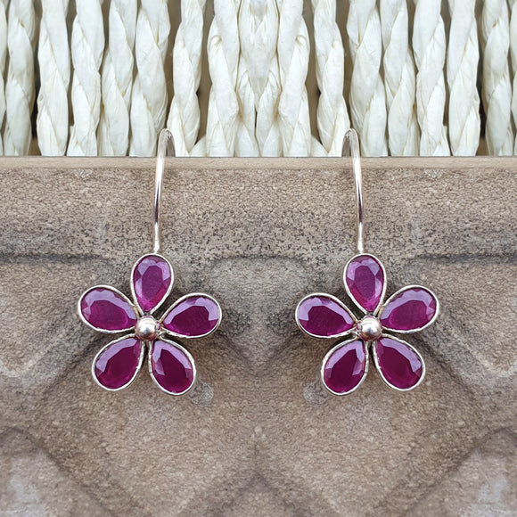 925 Silver Light Weight Ruby Red Flower Earrings