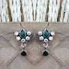 925 Silver Zircon Green Earrings With Green Drop