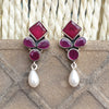 925 Silver Ruby Red Studs With Pearl Hanging