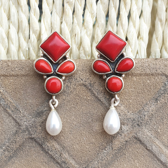 925 Silver Coral Red Studs With Pearl Hanging