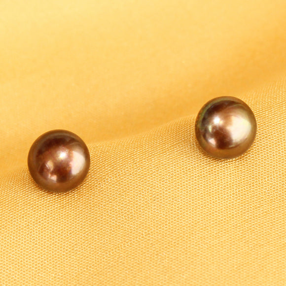 Imeora 925 Silver Real 8mm Wood Brown Pearl Stud