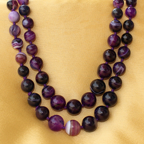Imeora Knotted Purple Agate Graduation Double Line Necklace with Handmade Silk Dori