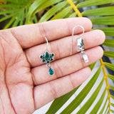 925 Silver Green Earrings With Green Drop