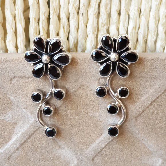 925 Silver Black Flower Leaf Earrings