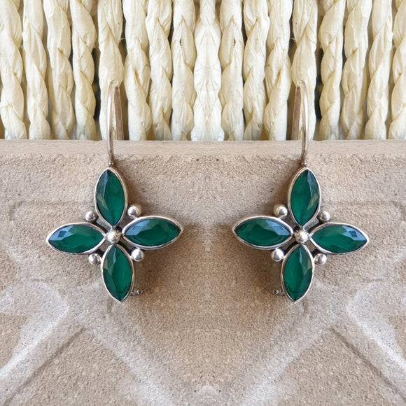 925 Silver Green Square Hanging Earrings