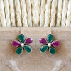 925 Silver Multicolor Flower Earrings