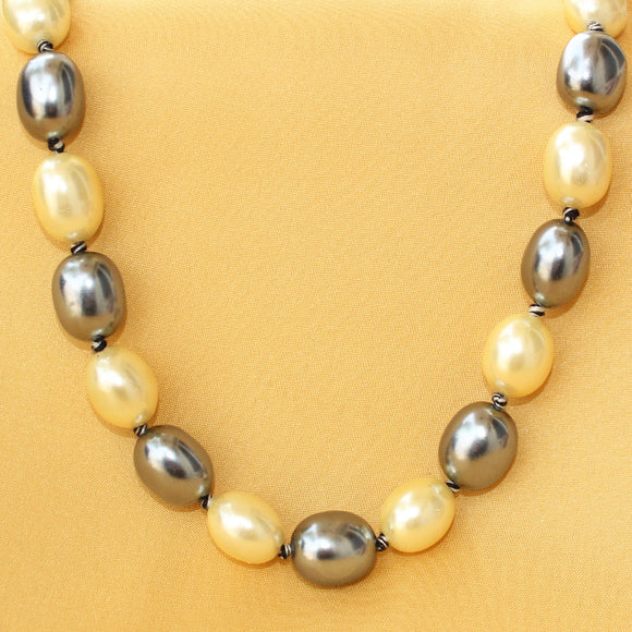 Imeora Metallic Golden and Black Alternate Shell Pearl 22 Inch Necklace