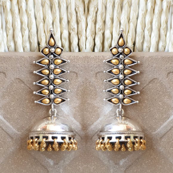 925 Silver Dual Tone Long Studs With Jhumki Drop