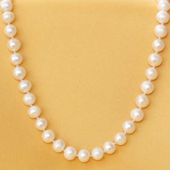 Imeora Fresh Water Pearl Knotted 22 Inch Necklace With 925 Silver Lock