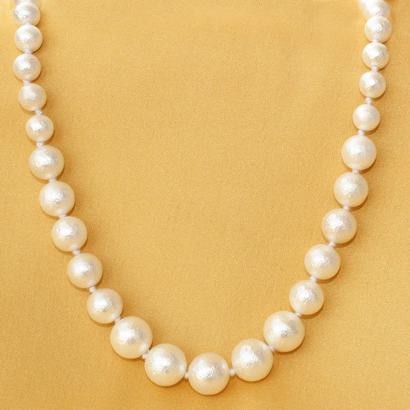 Imeora Knotted Graduation Matt Finish  White Shell Pearl 20 inch Necklace