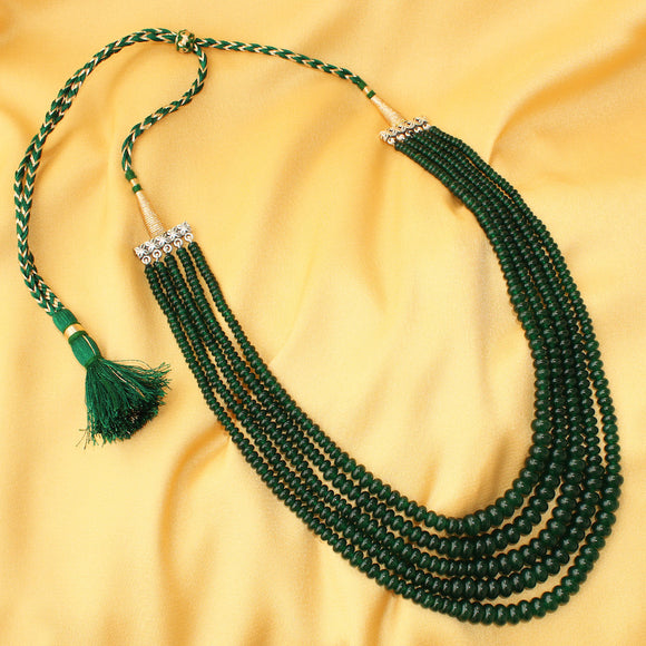 Imeora Green Quartz 5 line Graduation Necklace with Handmade Silk Dori