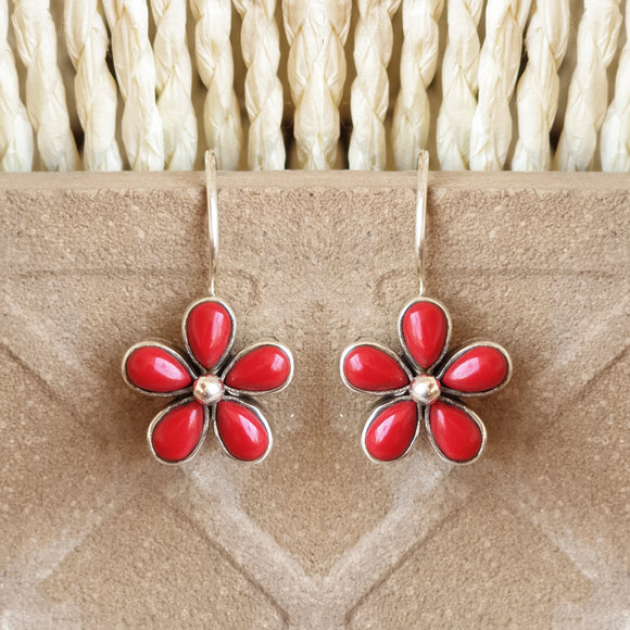 925 Silver Coral Red Flower Earrings
