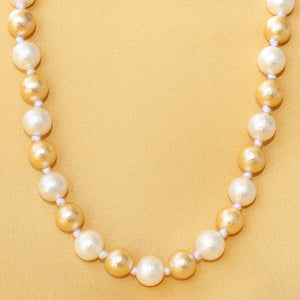 Imeora Matt Finish 10mm White Golden Shell Pearl Necklace
