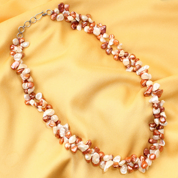 Imeora Exclusive Red White Mixed Pearl Necklace