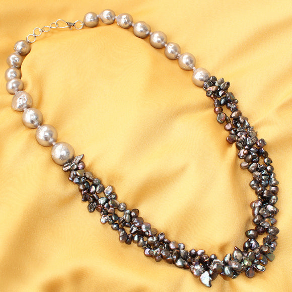 Imeora Midnight Blue Pearl Bunch with Silver color Baroque Necklace