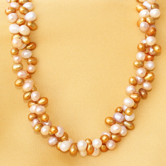 Imeora Elegant Golden Off White Pearl Bunch Necklace