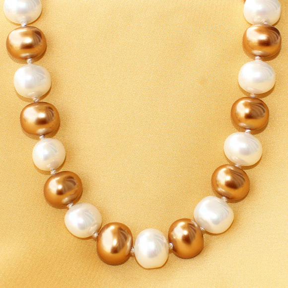 Imeora Dual Tone Golden White Shell Pearl Necklace