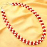 Red White Pearl Necklace