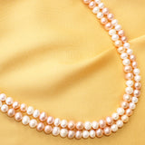 Imeora Fresh Water Peach And White Pearl Double Line Necklace