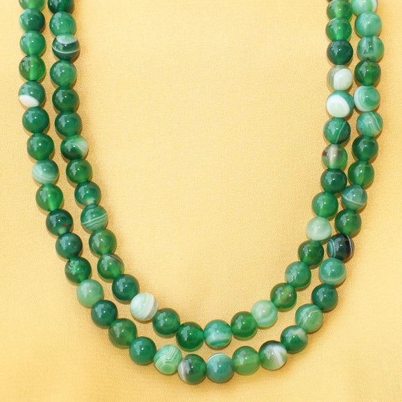 Imeora Multi Green Agate 8mm Double Line Necklace