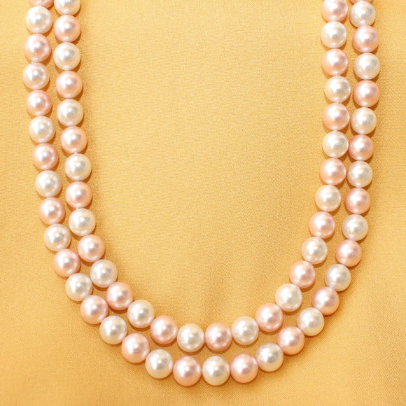 Imeora Baby Pink and White 8mm Shell Pearl Double Line Necklace
