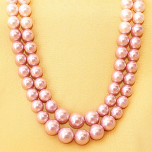 Imeora Tripple Shaded Pink Double Line Shell Pearl Necklace