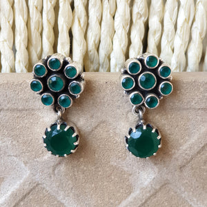 925 Silver Green Stud With Green Drop