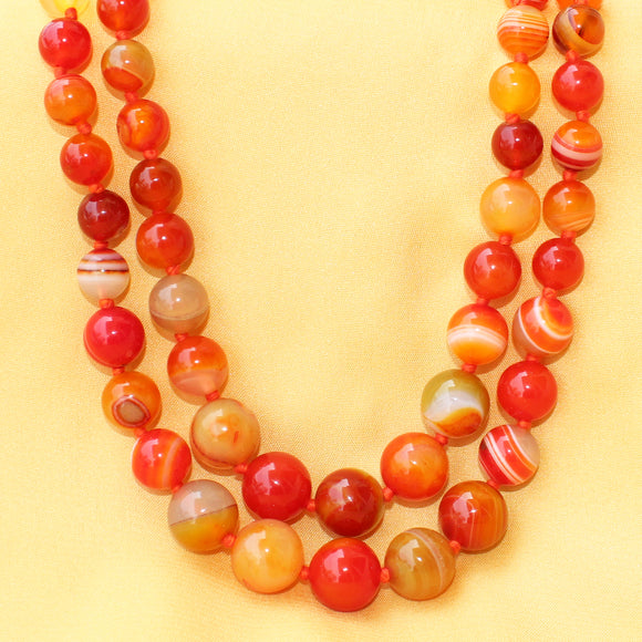 Imeora Knotted Orange Agate Graduation Double Line Necklace