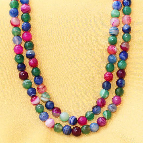 Imeora Multicolor Agate 8mm Double Line Necklace