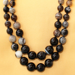 Imeora Knotted Multi black Agate Graduation Double Line Necklace