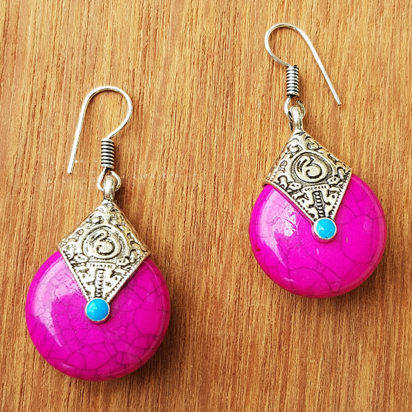 Imeora Oxidised Silver Pink Drop Earrings