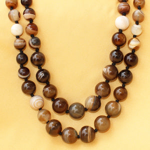 Imeora Knotted Earth Brown Agate Graduation Double Line Necklace