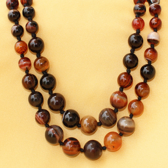 Imeora Knotted Religious Agate Graduation Double Line Necklace