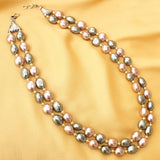 Imeora Peach And Silver Shell Pearl Double Line Necklace