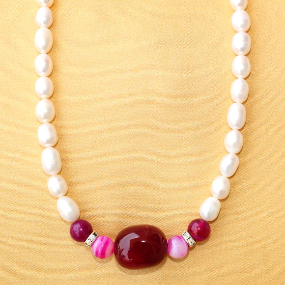 Imeora Fresh Water Pearl with Dark Pink Tumble Onyx Necklace Set