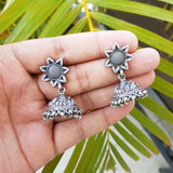 925 Oxidised Silver Star Studs With Hanging Jhumki