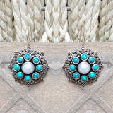 925 Silver  Turquoise With Pearl Center Flower Earrings