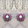 925 SilverPink With Pearl Center Flower Earrings
